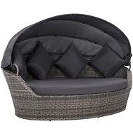 Zahradní postel s baldachýnem šedá 200 x 120 cm polyratan - Zahradní lehátko