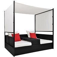 Zahradní postel s baldachýnem černá 190 x 130 cm polyratan - Zahradní lehátko