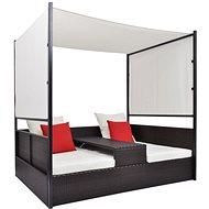 Zahradní postel s baldachýnem hnědá 190 x 130 cm polyratan