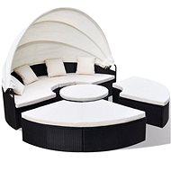 Zahradní postel polyratan černá - Zahradní lehátko