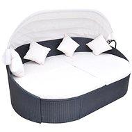 Zahradní postel s baldachýnem polyratan černá