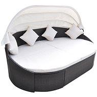 Zahradní postel s baldachýnem polyratan hnědá