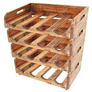 Stojan na 16 ks lahví vína, 4 regály, masivní recyklované dřevo - Stojan na víno
