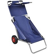 Foldable portable beach trolley with wheels, blue