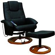 Masážní křeslo se stoličkou černé umělá kůže - Křeslo
