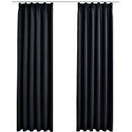Blackout curtains with hooks 2 pcs black 140 x 175 cm