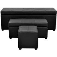 Černé koženkové úložné lavice s taburetem, sada 3 ks - Lavice