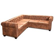 Chesterfield 5 Seater Sofa Faux Leather, Brown - Sofa