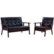 Sofa Set 2 pcs Black Faux Leather - Sofa