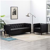 Sofa set 2 pcs with faux leather upholstery black - Sofa