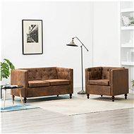Sofa Chesterfield 2 pcs textile brown suede look - Sofa