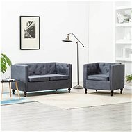 Sofa Chesterfield, 2 pieces, Textile Upholstery, Grey - Sofa