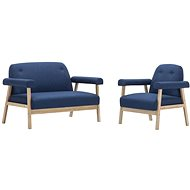 Sofa Set for 3 People, 2 Pieces of Textile Upholstery, Blue - Sofa