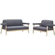 Sofa Set for 5 People Textile Upholstery Dark Grey 2 pcs - Sofa