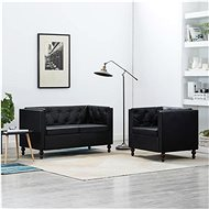 Sofa set with faux leather upholstery 2 pieces black - Sofa