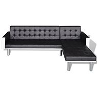L-shaped sofa made of black leather - Seat