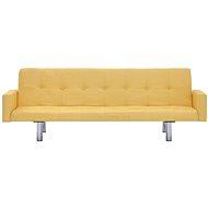 Rozkládací pohovka s područkami žlutá polyester - Pohovka