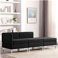 3-piece Sofa, Textile, Black - Sofa