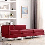 3-piece Sofa Textile Burgundy - Sofa
