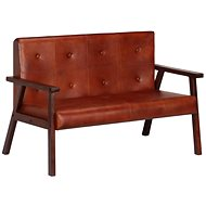 2-seater sofa, brown genuine leather