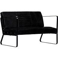 2-seater seat black genuine leather