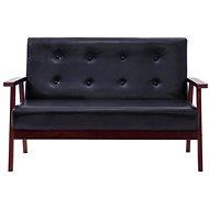 2-seater sofa black faux leather