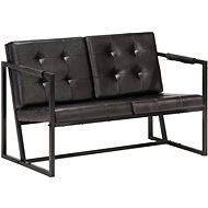2-seater seat black genuine goatskin