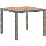 Zahradní stůl šedý 90 x 90 x 75 cm polyratan a masivní akácie