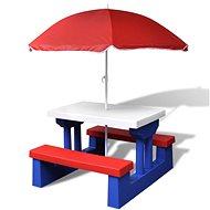 Dětský piknikový stůl, lavičky a slunečník vícebarevný - Zahradní stůl