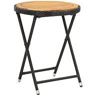Čajový stolek černý 60 cm polyratan a masivní akácie - Zahradní stůl