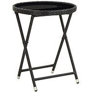 Čajový stolek černý 60 cm polyratan a tvrzené sklo - Zahradní stůl