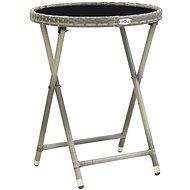 Čajový stolek šedý 60 cm polyratan a tvrzené sklo - Zahradní stůl