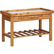 Garden Work Table with Zinc Top Solid Acacia