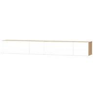 TV stolky 2 ks, dřevotříska, 120x40x34cm, vysoký bílý lesk, dub - TV stolek
