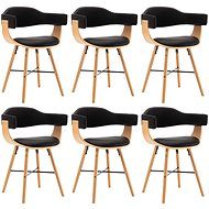 Dining chair 6 pcs black faux leather and bent wood - Dining Chair