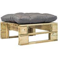 Zahradní taburet z palet s šedou poduškou zelený dřevo 275279 - Taburet