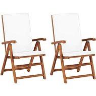 Polohovací zahradní židle s poduškami 2 ks masivní teak krémové - Zahradní židle