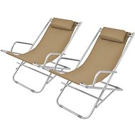 Adjustable garden chairs 2 pcs steel taupe 44298 - Garden Chair