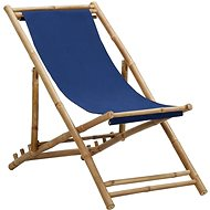 Bamboo camping chair and navy blue canvas 313019 - Garden Chair