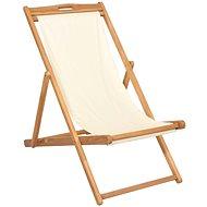 Kempingová židle teak 56 x 105 x 96 cm krémová 43802