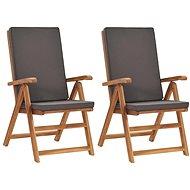 Polohovací zahradní židle s poduškami 2 ks masivní teak šedé 48982 - Zahradní židle