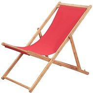 Skládací plážové křeslo látka a dřevěný rám červené 43999 - Zahradní křeslo