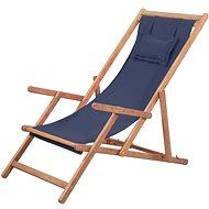 Folding Beach Chair Fabric and Wooden Frame Blue 43996 - Garden Chair