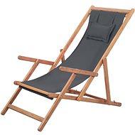 Skládací plážové křeslo látka a dřevěný rám šedé 43997 - Zahradní křeslo