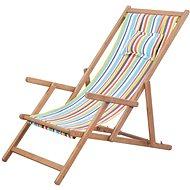 Skládací plážové křeslo látka a dřevěný rám vícebarevné 43998 - Zahradní křeslo