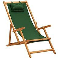 Skládací plážové křeslo masivní eukalyptus a textil zelené 310312 - Zahradní křeslo