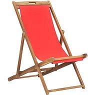 Skládací plážové křeslo masivní teak červené 47417 - Zahradní křeslo