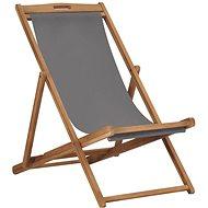 Folding beach chair solid teak gray 47415 - Garden Chair