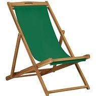 Folding Beach Chair Solid Teak Green 47416 - Garden Chair