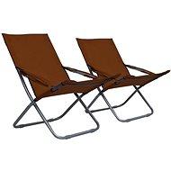 Skládací plážové židle 2 ks textil hnědé 47906